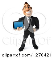 Clipart Of A 3d White Businessman Holding A Tablet Computer Or Smart Phone Royalty Free Illustration