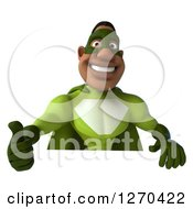 Clipart Of A 3d Male Black Super Hero In Green Holding A Thumb Up Over A Sign Royalty Free Illustration