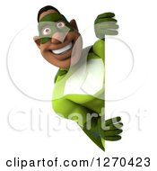 Clipart Of A 3d Male Black Super Hero In Green Smiling Around A Sign Royalty Free Illustration