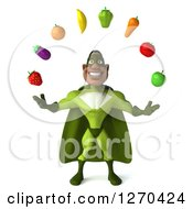 Clipart Of A 3d Male Black Super Hero In Green Juggling Healthy Fruit Royalty Free Illustration