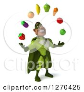 Clipart Of A 3d Male Black Super Hero In Green Facing Slightly Right And Juggling Healthy Fruit Royalty Free Illustration