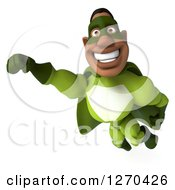Clipart Of A 3d Male Black Super Hero In Green Smiling And Flying Royalty Free Illustration