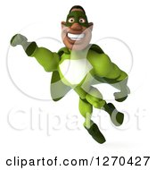 Clipart Of A 3d Male Black Super Hero In Green Smiling And Flying 2 Royalty Free Illustration