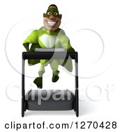 Clipart Of A 3d Male Black Super Hero In Green Smiling And Running On A Treadmill Royalty Free Illustration