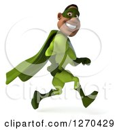 Clipart Of A 3d Male Black Super Hero In Green Smiling And Running To The Right Royalty Free Illustration