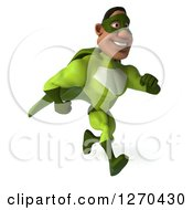 Clipart Of A 3d Male Black Super Hero In Green Smiling And Running To The Right 2 Royalty Free Illustration
