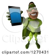 Clipart Of A 3d Male Black Super Hero In Green Holding Up A Smart Phone Royalty Free Illustration