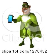 Clipart Of A 3d Male Black Super Hero In Green Facing Left And Holding Out A Smart Phone Royalty Free Illustration