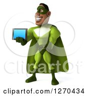 Clipart Of A 3d Male Black Super Hero In Green Presenting A Tablet Computer Royalty Free Illustration