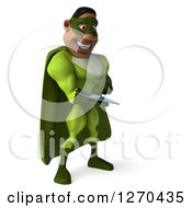 Clipart Of A 3d Male Black Super Hero In Green Facing Right And Using A Tablet Computer Royalty Free Illustration