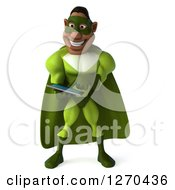 Clipart Of A 3d Male Black Super Hero In Green Using A Tablet Computer Royalty Free Illustration