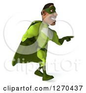 Clipart Of A 3d Male Black Super Hero In Green Walking And Pointing To The Right Royalty Free Illustration