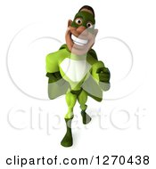 Clipart Of A 3d Male Black Super Hero In Green Walking And Pointing Royalty Free Illustration