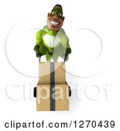 Clipart Of A 3d Male Black Super Hero In Green Moving Boxes On A Dolly Royalty Free Illustration