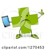 Clipart Of A 3d Unhappy Green Pharmaceutical Cross Character Holding Up A Finger And A Smart Phone Royalty Free Illustration