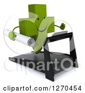 Clipart Of A 3d Happy Green Pharmaceutical Cross Character Running On A Treadmill With Blueprints Royalty Free Illustration