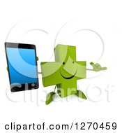 Clipart Of A 3d Happy Green Pharmaceutical Cross Character Gesturing Call Me And Holding Up A Smart Phone Royalty Free Illustration