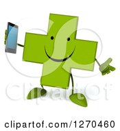 Clipart Of A 3d Happy Green Pharmaceutical Cross Character Holding A Smart Phone Royalty Free Illustration