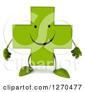 Clipart Of A 3d Happy Green Pharmaceutical Cross Character Royalty Free Illustration