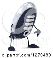 Clipart Of A 3d Sneaker Shoe Character Pouting And Facing Right Royalty Free Illustration