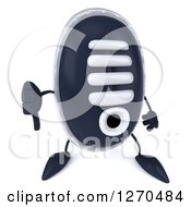 Clipart Of A 3d Sneaker Shoe Character Holding A Thumb Down Royalty Free Illustration