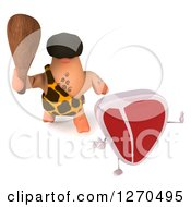 Clipart Of A 3d Beef Steak Mascot Running From A Caveman With A Club Royalty Free Illustration by Julos