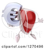3d Beef Steak Mascot Jumping With A Euro Symbol