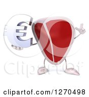 3d Beef Steak Mascot Holding Up A Finger And A Euro Symbol