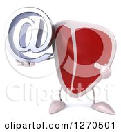 Clipart Of A 3d Beef Steak Mascot Holding And Pointing To An Email Arobase Symbol Royalty Free Illustration