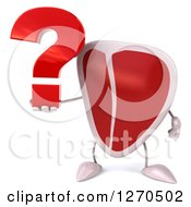 Clipart Of A 3d Beef Steak Mascot Holding A Question Mark Royalty Free Illustration
