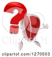 Clipart Of A 3d Beef Steak Mascot Facing Slightly Right And Jumping With A Question Mark Royalty Free Illustration