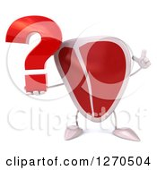 Clipart Of A 3d Beef Steak Mascot Holding Up A Finger And A Question Mark Royalty Free Illustration