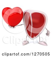 Clipart Of A 3d Beef Steak Mascot Holding A Heart Royalty Free Illustration