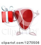 Clipart Of A 3d Beef Steak Mascot Holding Up A Finger And A Gift Royalty Free Illustration