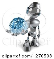 Clipart Of A 3d Silver Male Techno Robot Holding Up A Blue Glass Brain Royalty Free Illustration by Julos