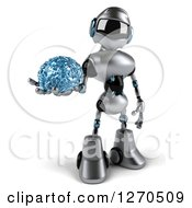 Clipart Of A 3d Silver Male Techno Robot Holding A Blue Glass Brain Royalty Free Illustration by Julos