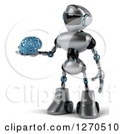 Clipart Of A 3d Silver Male Techno Robot Holding Out A Blue Glass Brain Royalty Free Illustration by Julos