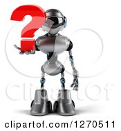Clipart Of A 3d Silver Male Techno Robot Holding A Question Mark Royalty Free Illustration by Julos