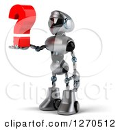 Clipart Of A 3d Silver Male Techno Robot Facing Left And Holding A Question Mark Royalty Free Illustration by Julos