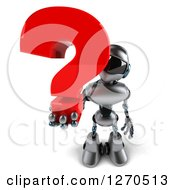 Clipart Of A 3d Silver Male Techno Robot Holding Up A Question Mark Royalty Free Illustration by Julos