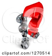 Clipart Of A 3d Silver Male Techno Robot Facing Right And Holding Up A Question Mark Royalty Free Illustration by Julos