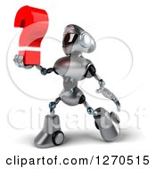 Clipart Of A 3d Silver Male Techno Robot Walking And Holding Up A Question Mark Royalty Free Illustration by Julos