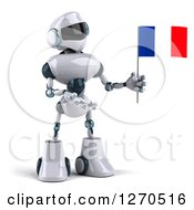 Clipart Of A 3d White And Blue Robot Holding And Presenting A French Flag Royalty Free Illustration