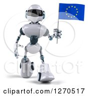 Clipart Of A 3d White And Blue Robot Walking And Holding A European Flag Royalty Free Illustration