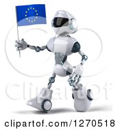 Clipart Of A 3d White And Blue Robot Walking To The Left And Holding A European Flag Royalty Free Illustration