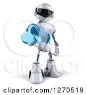 Clipart Of A 3d White And Blue Robot Holding A Blue Glass Cloud Royalty Free Illustration