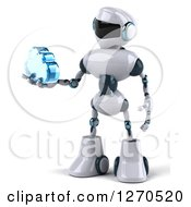 Clipart Of A 3d White And Blue Robot Holding A Blue Glass Cloud To The Left Royalty Free Illustration