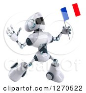Clipart Of A 3d White And Blue Robot Jumping And Holding A French Flag Royalty Free Illustration