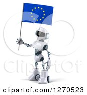 Clipart Of A 3d White And Blue Robot Facing Left And Holding A European Flag Royalty Free Illustration