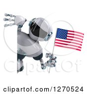 Clipart Of A 3d White And Blue Robot Holding An American Flag Around A Sign Royalty Free Illustration